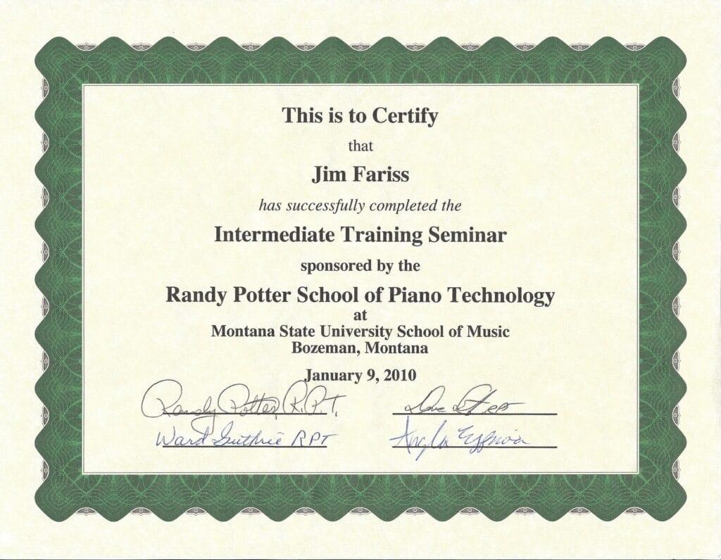 Intermediate Training Seminar Certificate