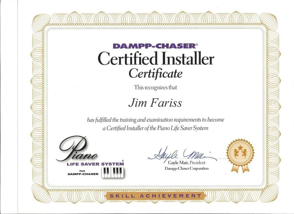 Dampp-Chaser Certified Installer Certificate