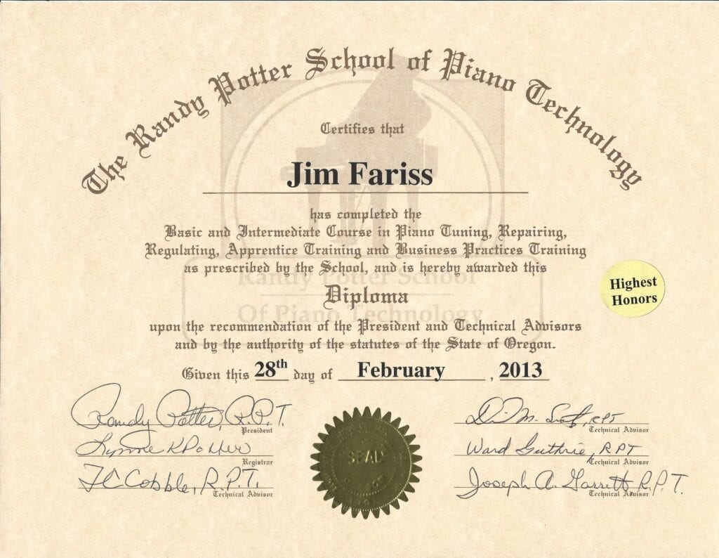 The Randy Potter School of Piano Technology Diploma