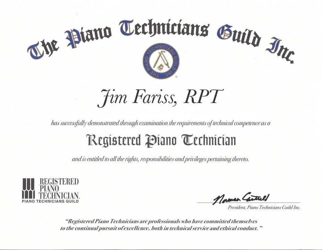 The Piano Technicians Build Inc. Certificate