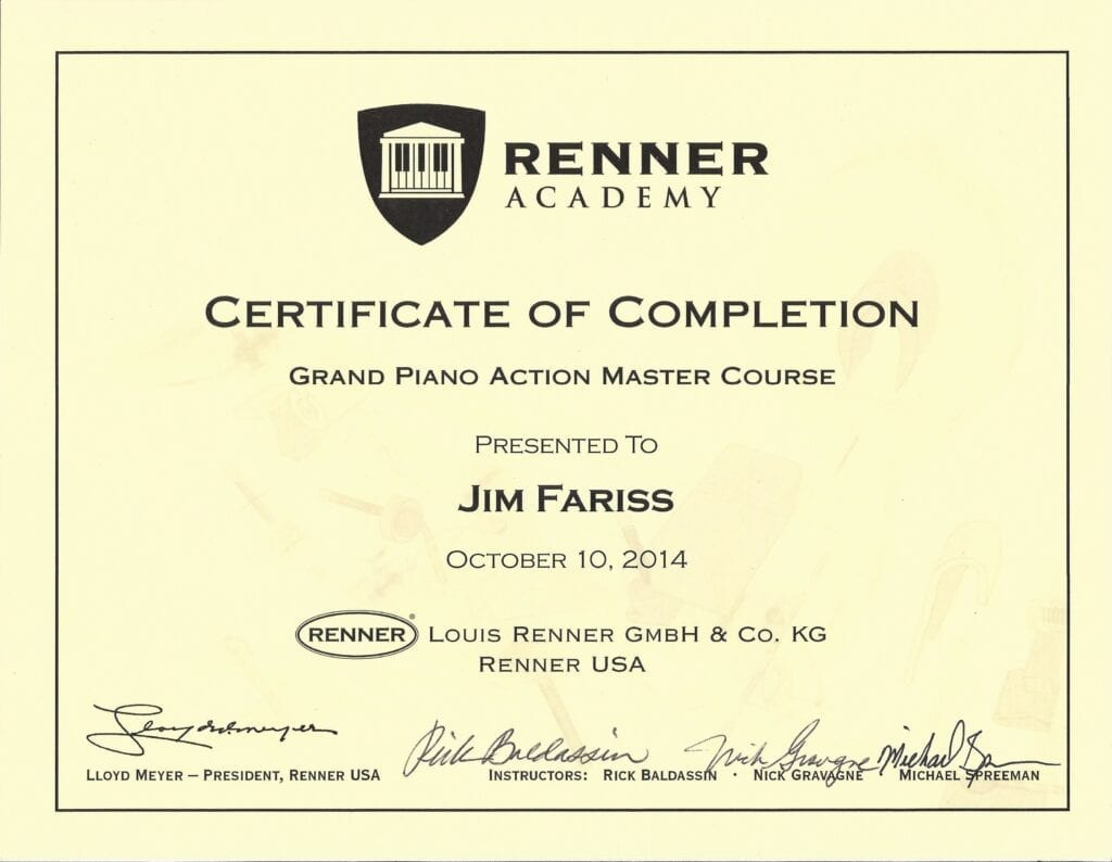 Renner Academy Certificate of Completion